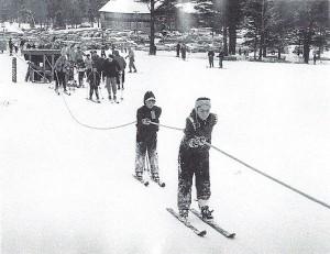 Gunstock Rope Tow Circa 1960 Credit: New England Ski Museum