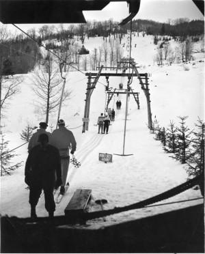 T-Bar at Black Mountain, NH.  Credit: New England Ski Museum