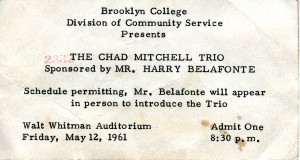 Chad Mitchell Trio Concert Ticket