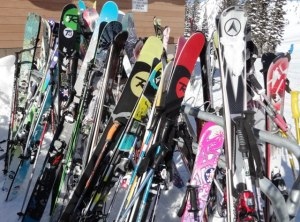 Where O where art thou? Getting skis mixed up is too easy in this forest of fiberglass. Credit: Harriet Wallis