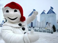 Mascot Bonhomme makes us feel welcome at his Palais. Credit: Tourisme Quebec