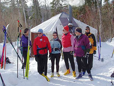 Boundary Country Trekking x-c skiers in northern MN enjoy some hot chocolate. Credit: Roger Lohr