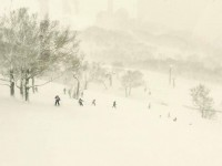 Almost like a Japanese woodcut,  skiers in Niseko run through the flakes. Credit: Susie Winthrop