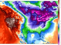 One glance at the February weather composite shows why we've had a weird mid-Winter: Cold East, Warm West.  Credit: Weatherbell.com