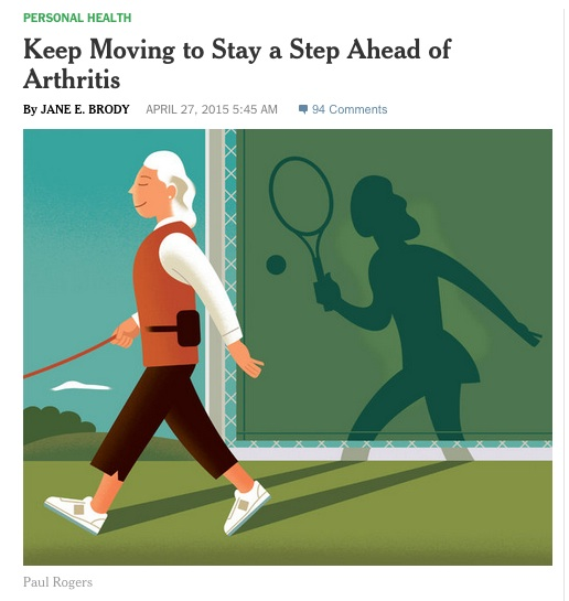 NY Times Columnist explains why activity is a way to fight arthritis. Credit: NY Times.