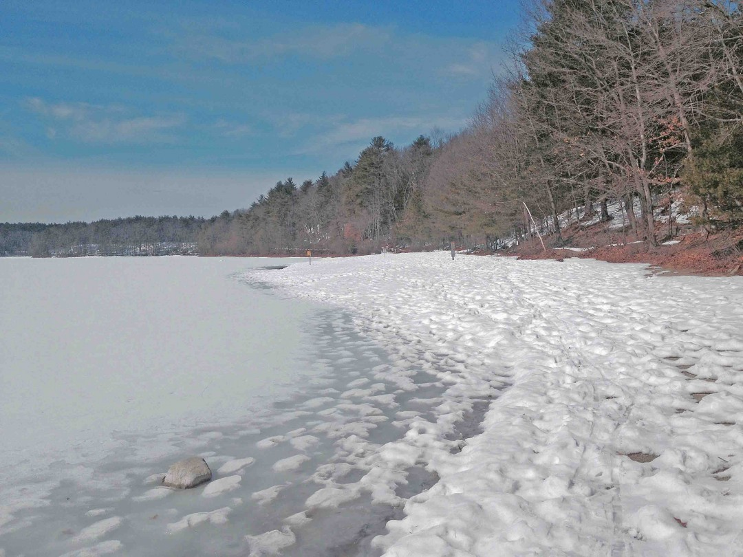 Early spring ski tour on a quiet day around Walden Pond.  Priceless. Credit: Mike Maginn