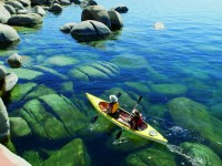 Kayaking is a great upper-body workout for skiers in the off-season and especially relaxing on the calm waters of Lake Tahoe, one of the clearest lakes in the world with water clarity of more than 70 feet. Credit: The Ritz-Carlton, Lake Tahoe