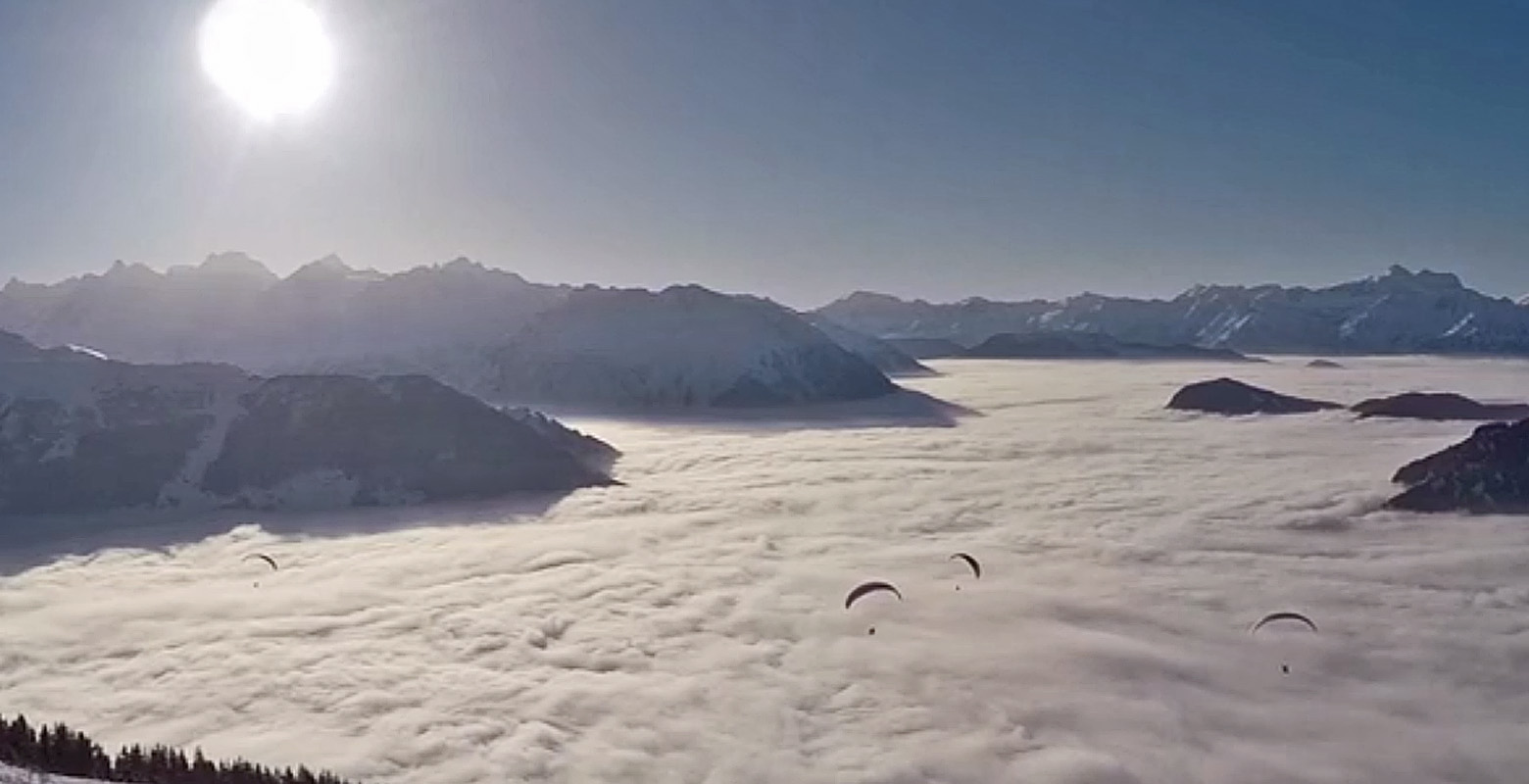 Verbier, Switzerland: ParaSailing on skis Credit: Mark Subi