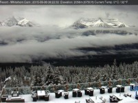 Lake Louise webcam reveals a dusting. More webcams can be found on OpenSnow.com Credit: OpenSnow