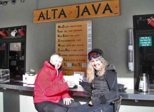 SeniorsSkiing.com's correspondent Harriet Wallis and friend have a cuppa java at the end of the day. Credit: Harriet Wallis