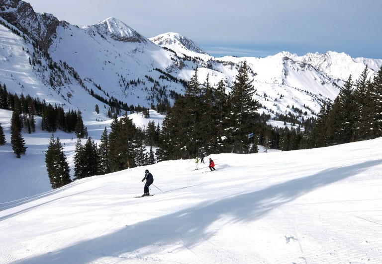 "Alta is all about open slopes and big vistas. Here is Big Dipper, a beautiful ""blue"" level run. Credit: Harriet Wallis"