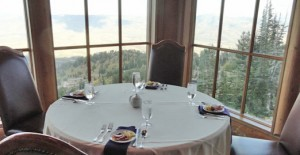 Dinner with a view at Snowbasin's mid-mountain restaurant. Credit: Harriet Wallis
