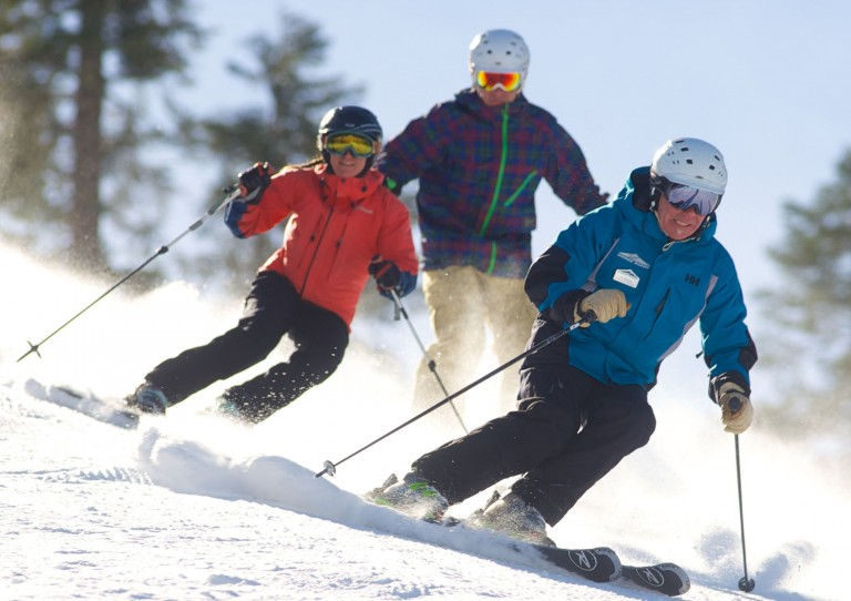 Jon Mahanna, creator of the Master's Clinics, has class members follow his every move down the slopes. Credit: Dodge Ridge