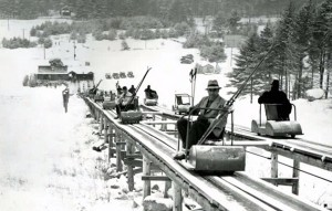 The Skimobile ran straight up the middle of the mountain. It was still running in 1988. Credit: Cranmore