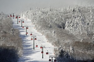 Need a lift blanket? Chairs heading up on a frosty day at Stowe. Credit: Stowe Mountain Resort
