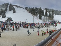 Lots of folks lining up at Winter Park.  Holiday weekend was busy. Credit: Susan Winthrop