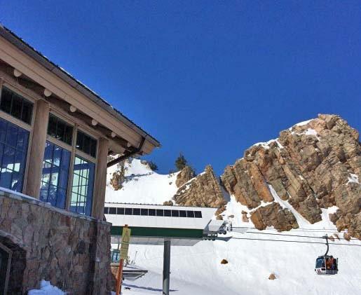 The Needles Lodge and Gondola at SnowBasin on a bluebird day. Credit: Jon Weisberg