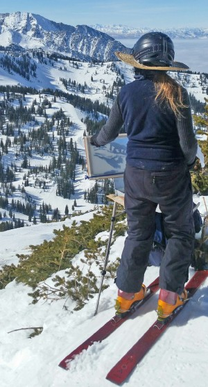 Here's Judy Calhoun capturing a scene on canvas at the top of an Alta run. Credit: JCalhoun