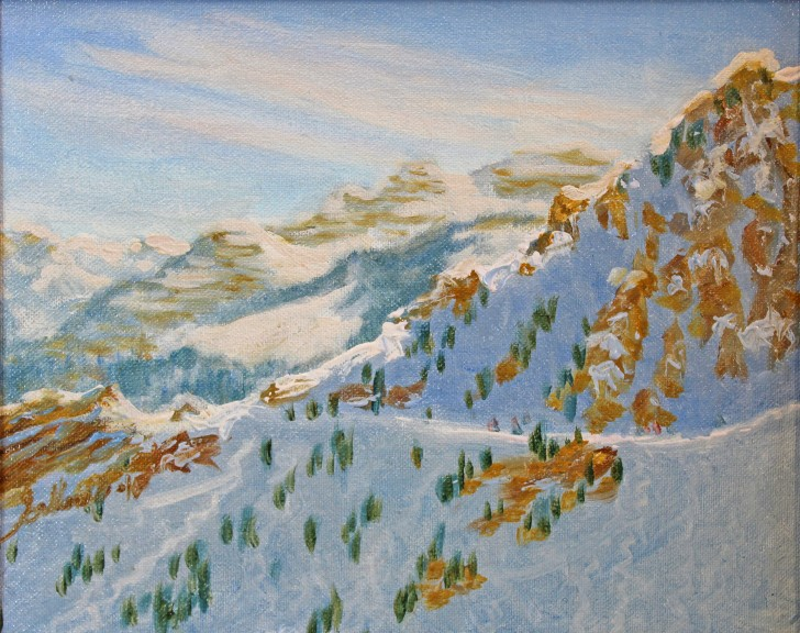 Oil-on-canvas by Judy Calhoun captures the Wasatch.