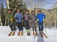 Pat McCloskey's gang of life-long ski buddies.  This lucky bunch of seniors meets yearly for Big Skiing. Credit: Pat McCloskey