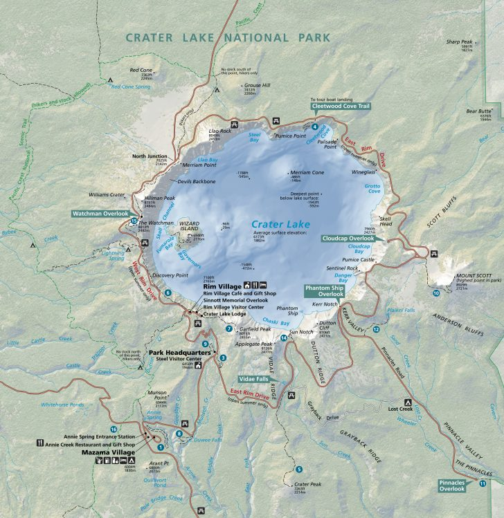 National Park Service Map of Crater Lake. Hills and altitude make the ride around challenging.