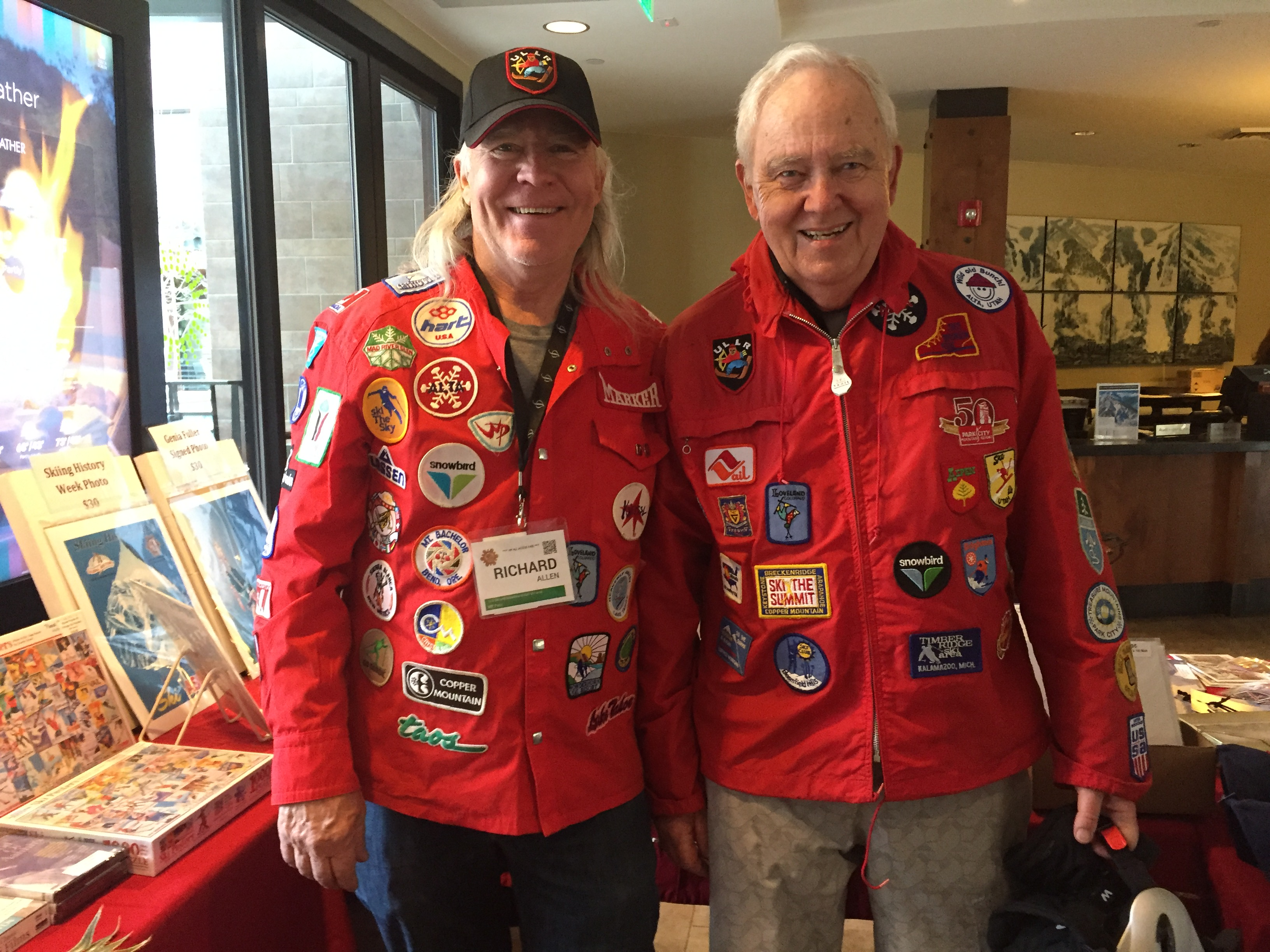Author compares patches with Richard Allen of Vintage Ski World . Credit: Jan Brunvand
