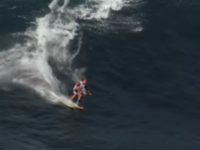 "Chuck Patterson slaloms down ""Jaws"" in Maui. Credit: Salomon Freeski"