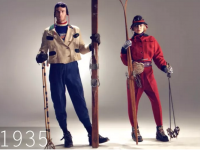 A touch of nostalgia for antique ski clothing.  Perhaps it's time to fetch a retro-look in ski fashion.  Wool hats anyone? Credit: Colorado Ski and Snowboard Museum.