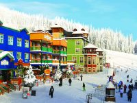 SilverStar Village is a mid-mountain, self-contained resort in itself with restaurants, shops and lodging. Credit: SilverStar
