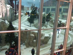 SkiDubai's indoor ski area has real snow, interesting features, and cold temps.