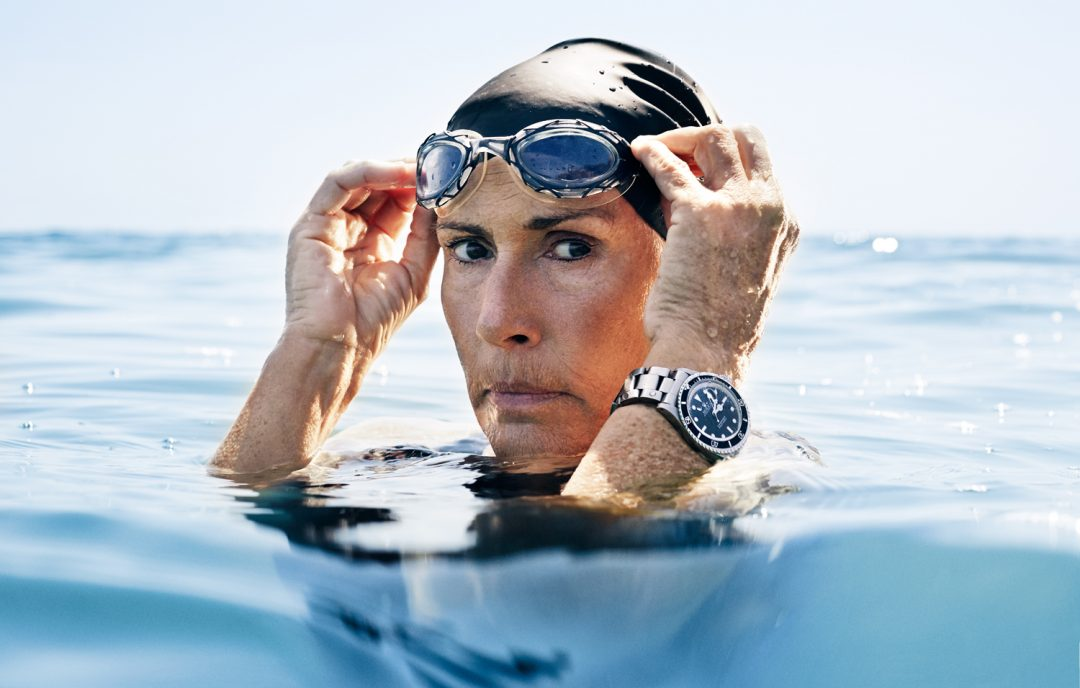 In 2013, Diana Nyad swam the Florida Straits, 110 miles, without a shark cage in 53 hours. She was 64 years old. Credit: Steven Lippman