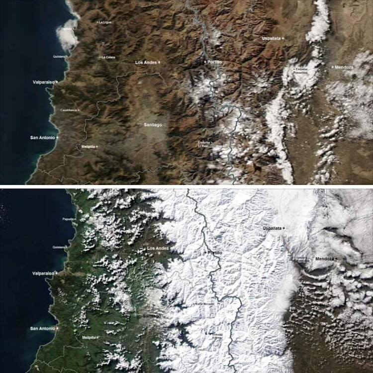 Before and After satellite images of Portillo region in Chile captures the magnitude of the storm