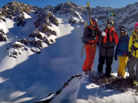 Four pro skiers at the tippy top of somewhere in the Andes. Credit: GoPro