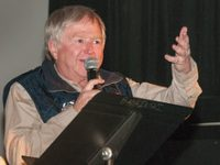 """""""Bernie Weichsel speaks at the Jerry Awards at the Ishpeming 100 Film Festival during Skiing History Week in Steamboat Springs."""""""