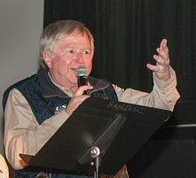 """Bernie Weichsel speaks at the Jerry Awards at the Ishpeming 100 Film Festival during Skiing History Week in Steamboat Springs."""