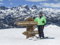 Correspondent Yvette Cardozo decked out in Obermeyer plus size ski wear at the top of Mammoth Mountain's expert runs, ready to put the technical skiwear through its paces. Credit: Yvette Cardozo