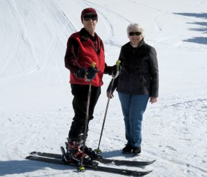 John Andrew and his wife Jewel on the slopes of Pine Creek Ski Area in Wyoming last February. Photo courtesy of the Andrews