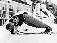 As he did with so many things, Warren finds his own way to wax. Credit: Warren Miller Personal Archive