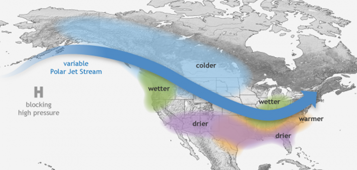 La Nina impact how the jet stream bends over the Pacific. Here's NOAA's prediction as of end of Oct. Credit: NOAA NWS