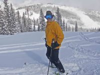 Ski Guide Peter McCarville, who lives in western Colorado, assumes a pose at Snowmass. Credit: Peter McCarville