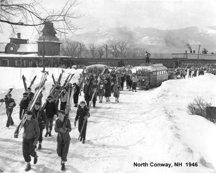 Ski train unloads in North Conway, NH, circa 1946. Credit: Dick Smith