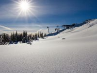 The powdery slopes of Mt. Bachelor await skiers at the top of the new Cloudchaser Express lift. Credit: Jon Tapper