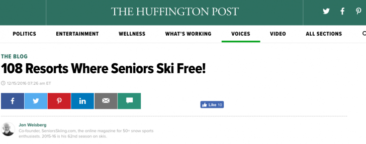 Where Seniors Can Ski For FREE: Huff Post