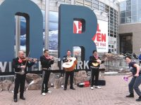 A mariachi band gets people dancing before the Outdoor Retailers show opens. Credit: Harriet Wallis