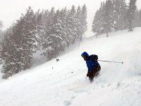 A skier hits the slopes of Powder Keg at Mt. Hood Meadows.  Credit: John Nelson