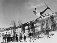 Stein thrilled visitors to Park City with his aerial flips. He was a gymnast in school and his graceful moves influenced several generations of free stylers. Credit: Park City