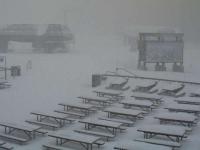 Sugar Bowl base lodge on a snow day.