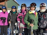 Indie Ski Club members get ready to ski Mountain Masters: left to right: Anne Kelvin, Laryn Peterson, Marilyn Rader, Janet Zusman, Sue Johnson Credit: Tamsin Venn