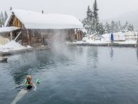 Main pool at Burgdorf Hot Springs during a light snowfall.