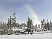 The base at Tamarack Resort with sports and cafe domes and a snow rainbow. Credit: Tamarack Resort